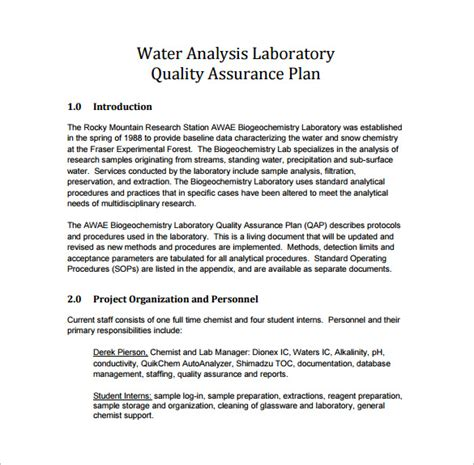 quality plan template free 12 quality assurance plan templates free sle