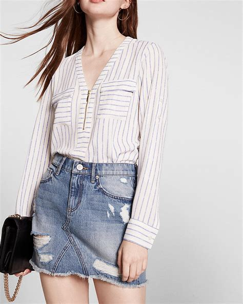 express striped sleeve zip front blouse lyst