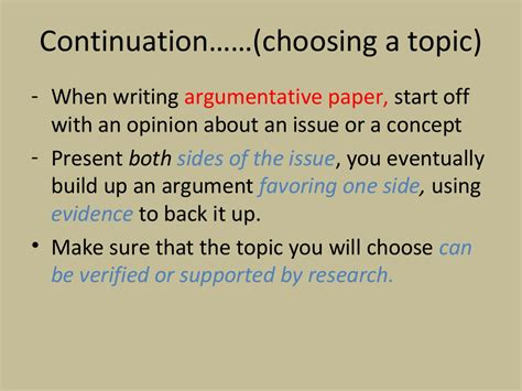 selecting a topic for a research paper continuation choosing a topic when