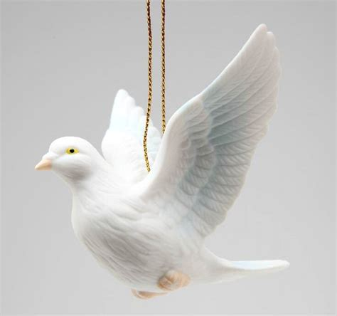 white dove bird christmas tree ornaments set of 4