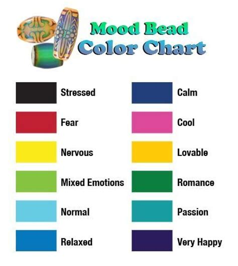 colors and mood chart what mood are you in mood bead color chart summer color