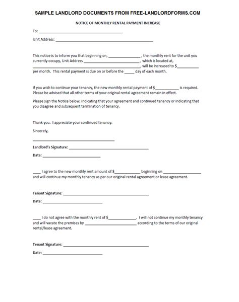 template rent increase template notice sample image letter example