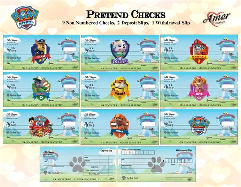 printable fake money and checks paw patrol pretend play checks play money paw patrol