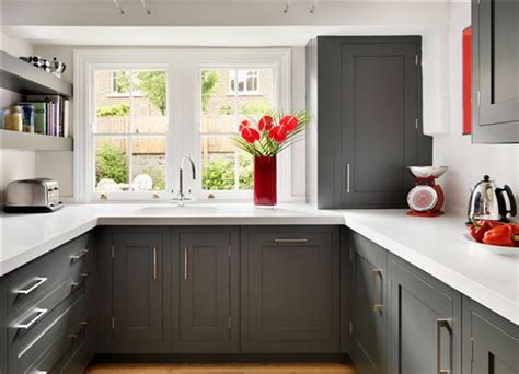 Red Kitchens With White Cabinets dark grey shaker kitchen from harvey jones