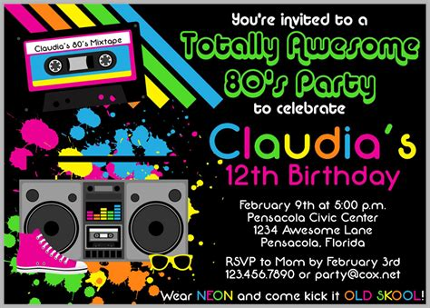 80s invitation template 80s invitations theruntime