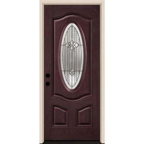 Belmont Door by Tru Tech Belmont 3 Panel Deluxe Rosedale Mahogany Finish