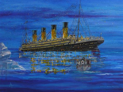titanic boat sinking sinking titanic and life boat painting by anna ruzsan
