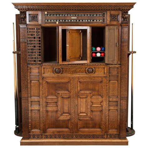 Billiard Cabinet by Carved Oak Billiards Cabinet By Thurston And Co
