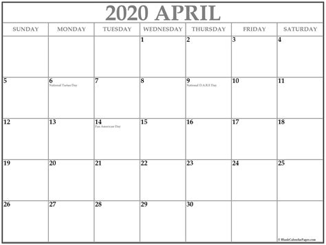 april  calendar  holidays