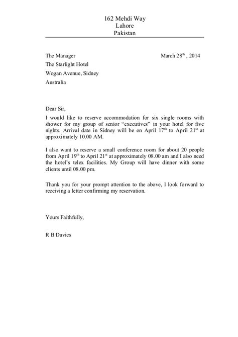 Hotel Reservation Letter Writing Meeting 4 Reservation Letter 22120579