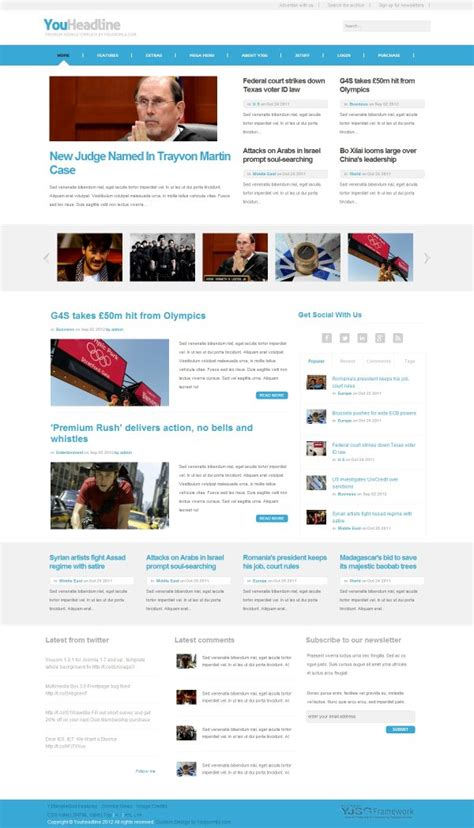 joomla template with content youheadline news magazine joomla template