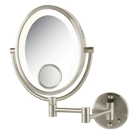 bathroom vanity mirrors brushed nickel halo swinging lighted oval vanity mirror with insert