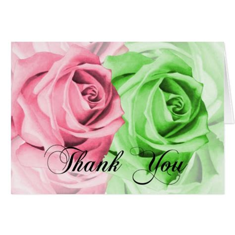 Can You Use A Pink Gift Card In Victoria Secret - pink green roses thank you card zazzle
