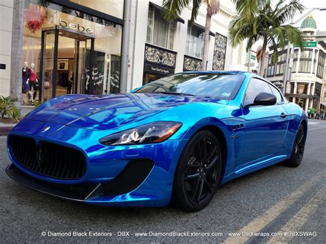 blue maserati maserati granturismo mc wrappedin blue chrome by dbx
