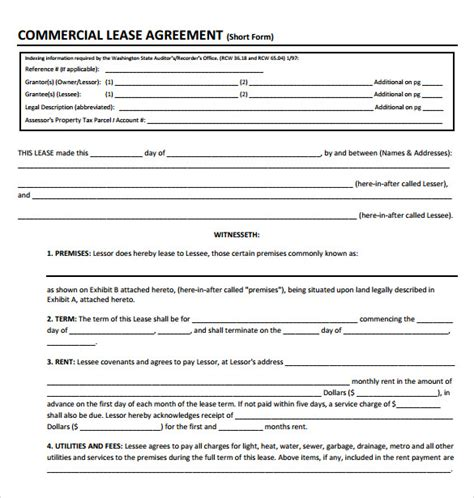 commercial lease agreement template pdf sle commercial lease agreement 9 exle format