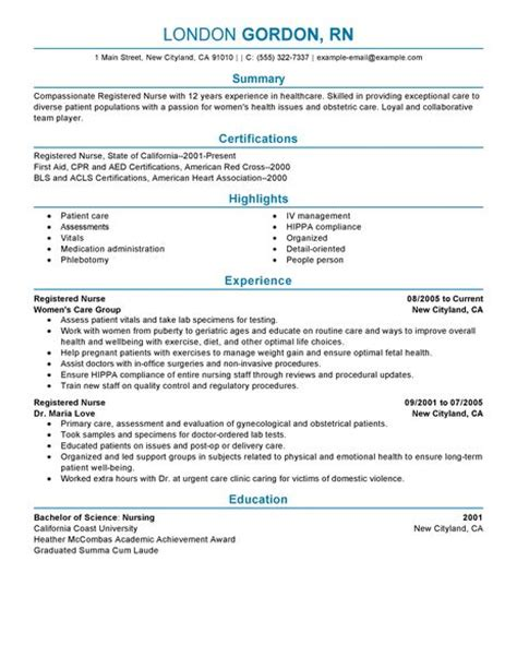 Resume Sles For Registered Nurses Registered Resume Exles Healthcare Resume Exles Livecareer