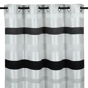 rideau 224 蜩illets 140x270cm blanc et noir brillant