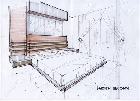 sketch of a bedroom drawn bedroom basic interior design pencil and in color