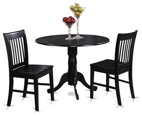 42 Quot Round Small Dining Table Set With 9 Quot Drop Leaf Black 42 Dining Table Sets