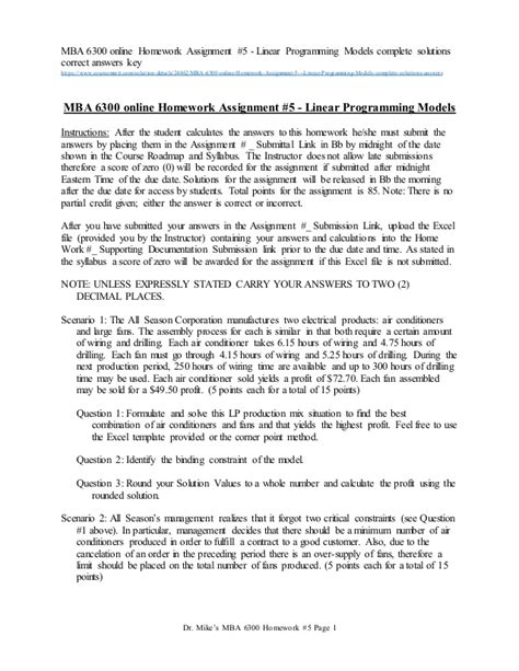 Mba Homework by Mba 6300 Homework Assignment 5 Linear Programming