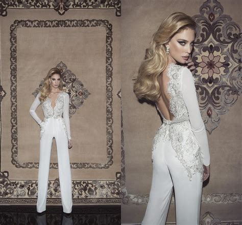 Dany Mizrachi 2015 Sexy Bridal Pants Mermaid Appliqued Beaded Chiffon Beach Wedding Dresses With