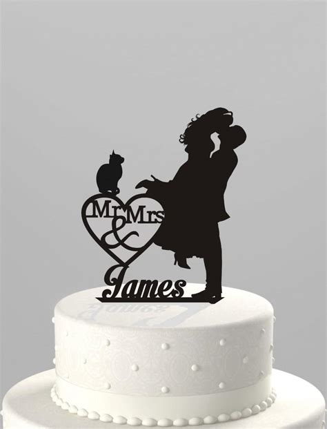 Acrylic Cake Topper Nama wedding cake topper silhouette mr mrs personalized with last name and cat acrylic cake