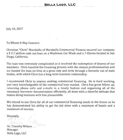 Finance Letter Of Recommendation Letters Of Reference Marabella Commercial Finance