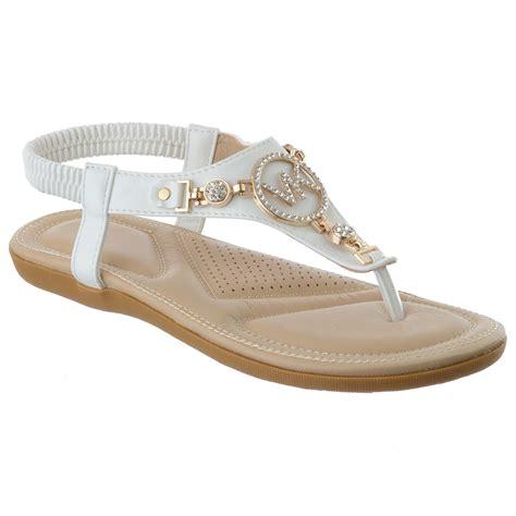 three sandals womens flat comfort diamante summer dress