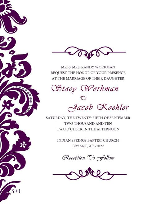 printable wedding invitation cards template