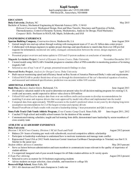 Resume Sle For Entry Level Engineer Entry Level Mechanical Engineering Resume Sales