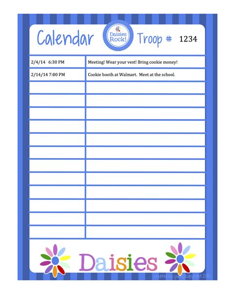 fashionable moms girl scouts daisies calendar word format