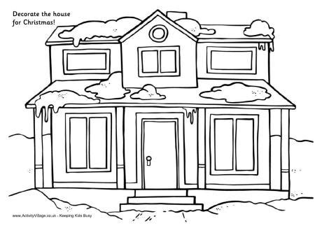 decorated house coloring pages decorate the house for christmas house printable