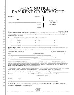 Fillable Online 103 D 3 Day Notice To Pay Rent Or Move Out Apartment Owners Fax Email Three Day Notice To Pay Rent Or Quit Template