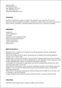 Maintenance Resume Example Professional Apartment Maintenance Supervisor Templates To