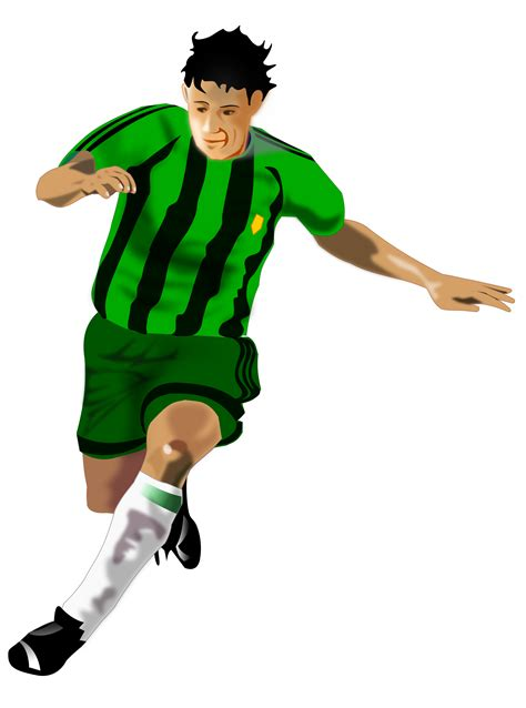 soccer play clipart soccer player green black
