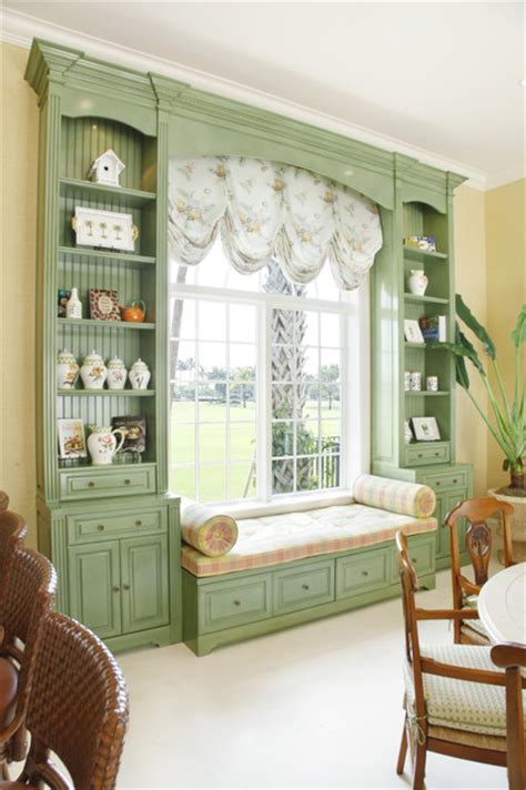 Green Painted Custom Built in with Window Seat