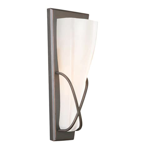 In Wall Sconce Shop Portfolio 5 13 In W 1 Light Rubbed Bronze Pocket