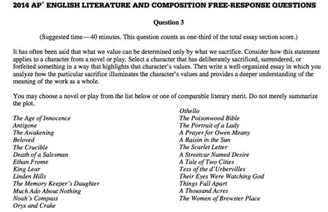 ap literature free response sle essays should you take ap literature or ap language