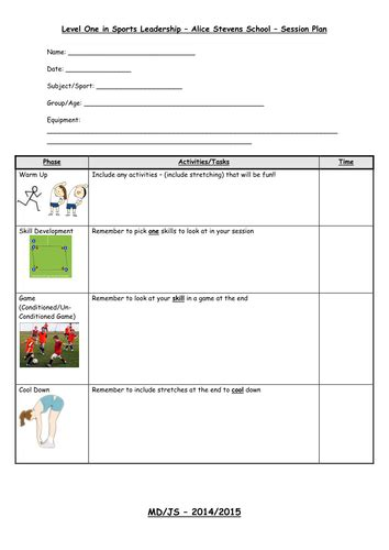 sports lesson plan template sports leaders level 1 lesson plan for mld pupils by