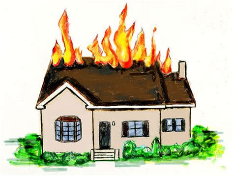 the house is on fire illustration for books the net homes businesses from carol hawkins studio