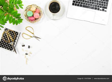 Laptop Desk White Flat Lay Office Desk Workplace Coffee Cookies Laptop