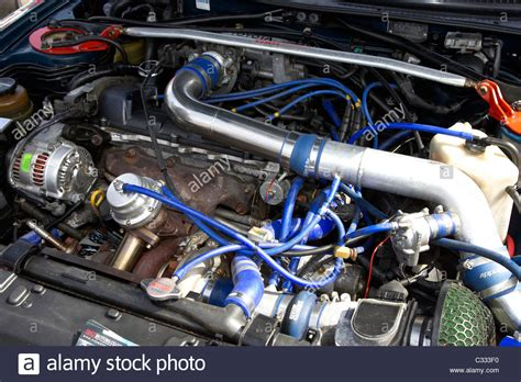 car engine best car modification modified engine of a toyota supra at a modified car show in the uk stock photo royalty free