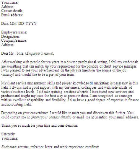 Cover Letter To Client Client Services Manager Cover Letter For Website