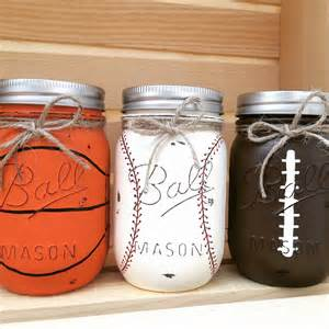 Sports Themed Piggy Banks Choose 1 Mason Jar Piggy Bank Baseball Basketball Football