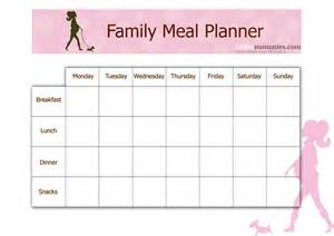family menu template family meal planner mommies