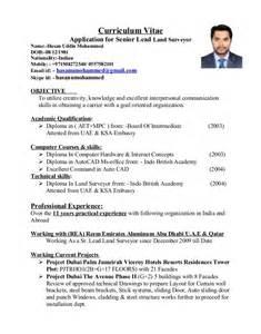 Land Surveyor Resume Exles by Hum Surveyor Cv