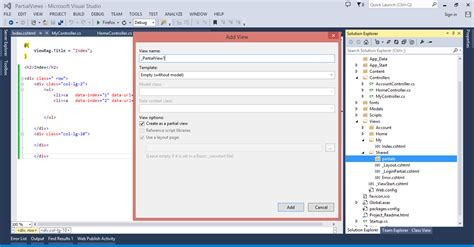 render partial view in layout mvc render partial views in asp net mvc using ajax lets code