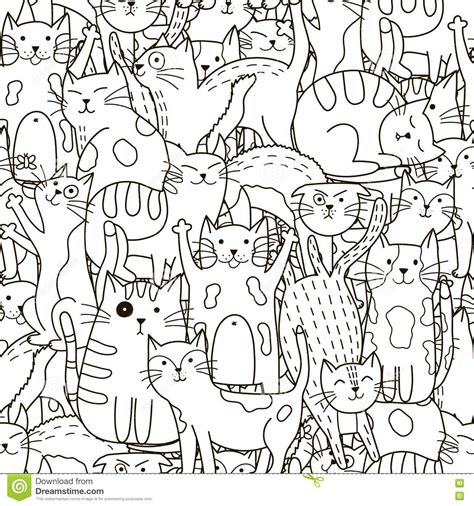 cute pattern colouring pages seamless pattern with cute white cats cartoon vector
