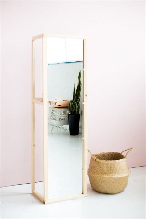 diy wooden floor standing mirror with useful shelf