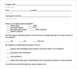 Program Evaluation Template by Sle Program Evaluation Form 11 Free Sles